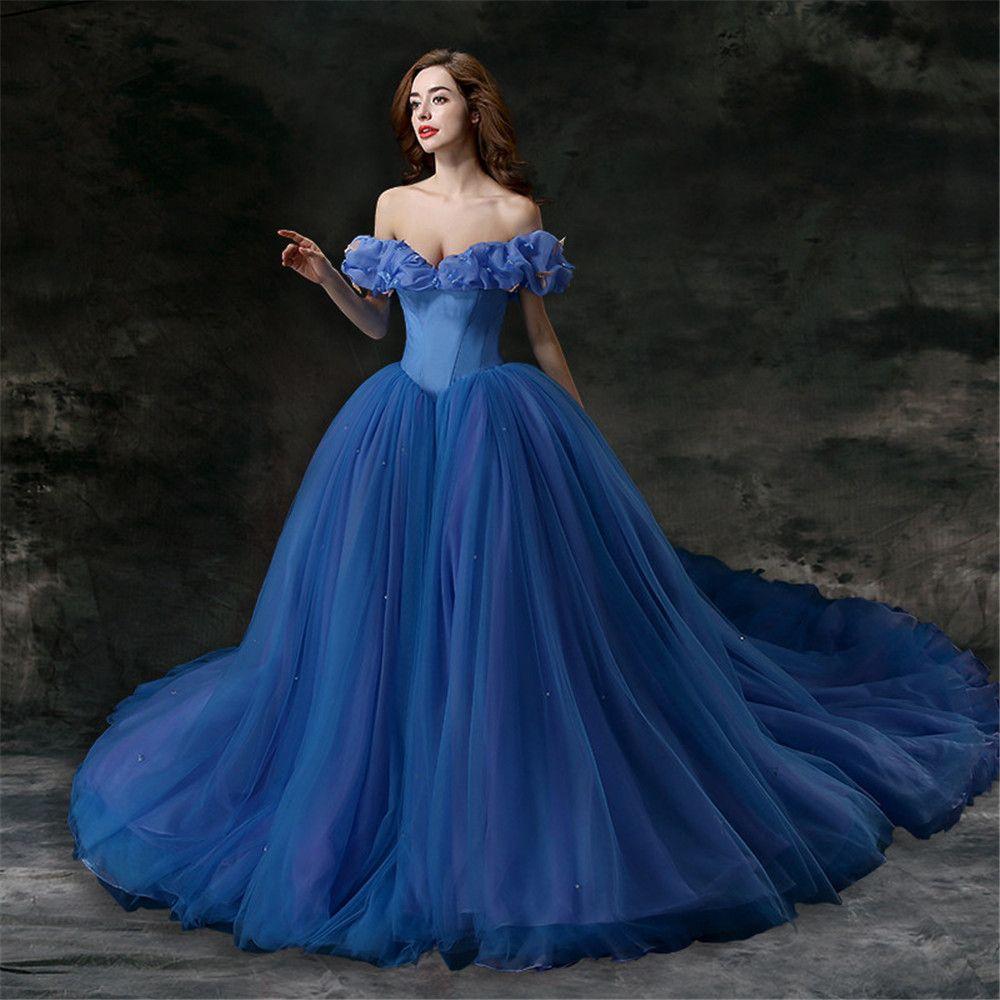 New Custom Made Princess Cap Sleeve Tulle Elegant Plus Blue Wedding