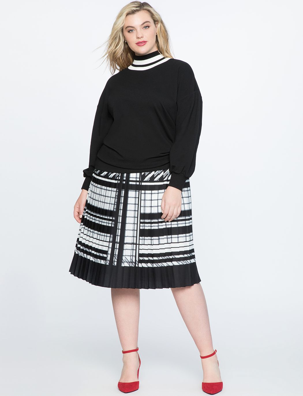 a1e4bc7be Pleated Midi Blocked Hem | Eloquii | Pleated midi skirt, Plus size ...