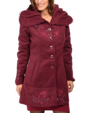 Look what I found on #zulily! Dark Purple Wide-Lapel Button-Up Coat #zulilyfinds