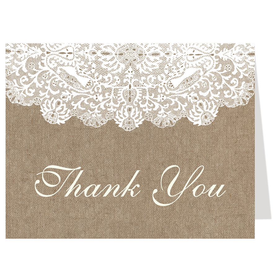 Burlap and lace thank you card shop thank you cards pinterest