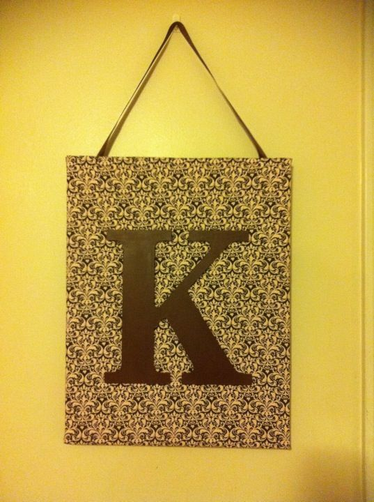 DIY wall decor. Good way to make the initial as a larger piece of ...