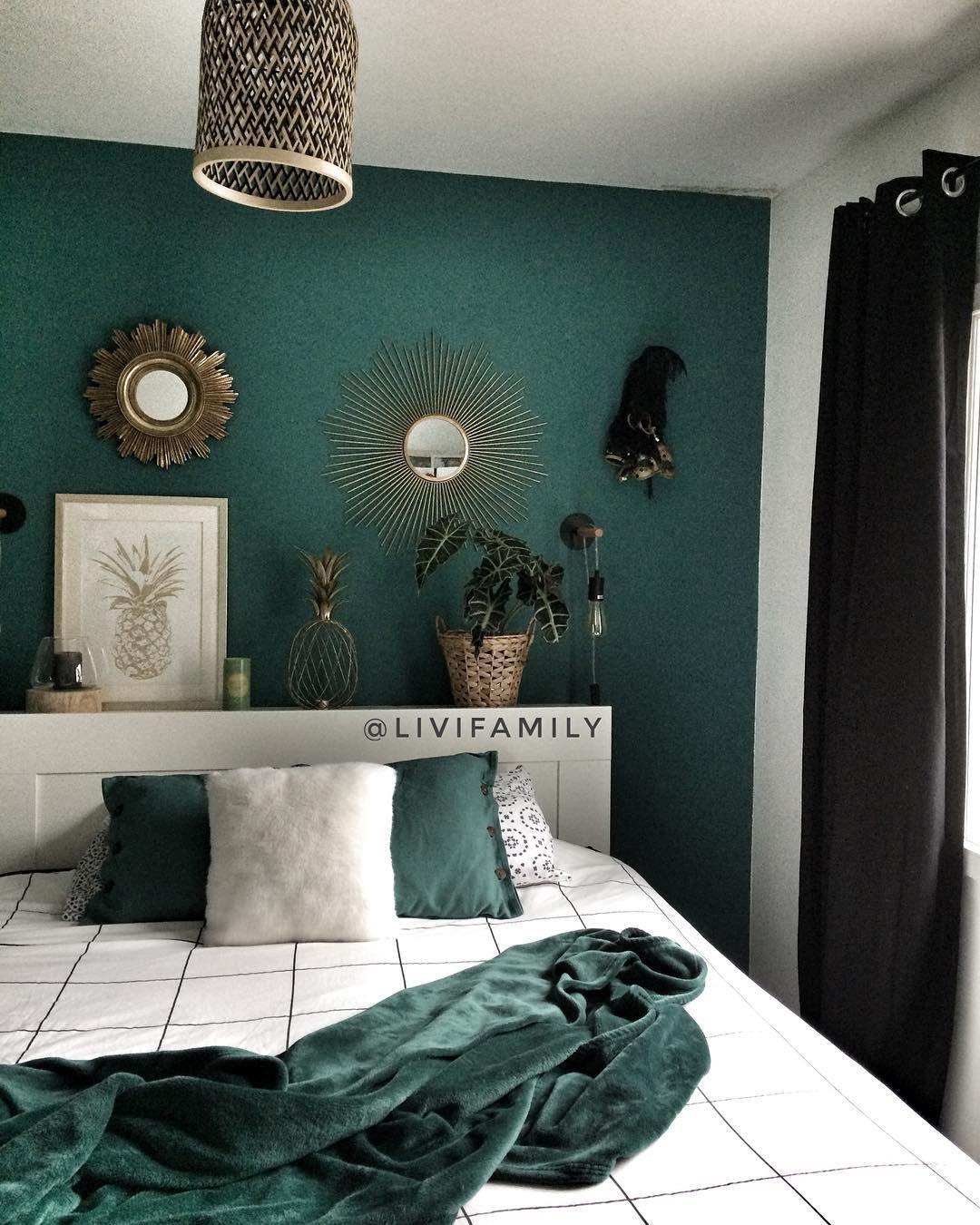 chambre vert profond deco chambre