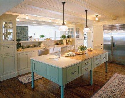White Cabinets Blue Green Island Beach House Kitchens Home Kitchens Kitchen Design