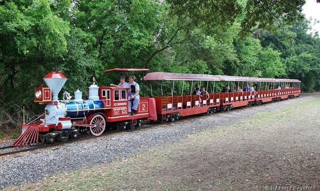 In San Antonio, Tx at Brackenenridge Park, home since 1956 to the Brackenridge Eagle 12-inch guage train that runs on an approximately two mile circle around the park. It's across from the zoo...