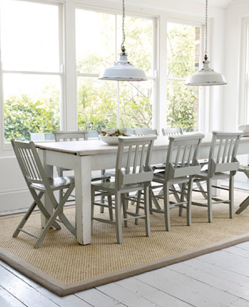 Space Furniture Rug: Rustic Dining Room With Crucial Trading Rug In Sisal