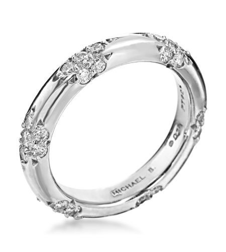 Michael B Lace Collection Platinum Crown Lace Wedding Band If