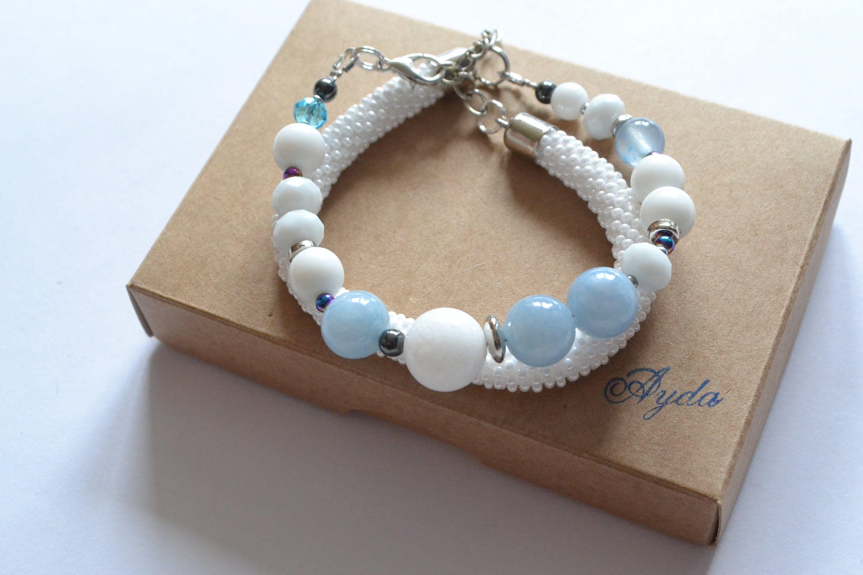 White Bead Bracelet White Beaded Bracelet Gemstone Bracelet