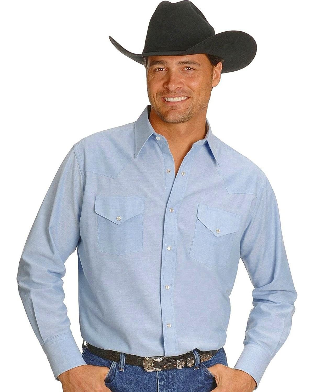 Roper Mens Basics Blue 100/% Cotton L//S 6 Oz Tall Denim Snap Western Shirt