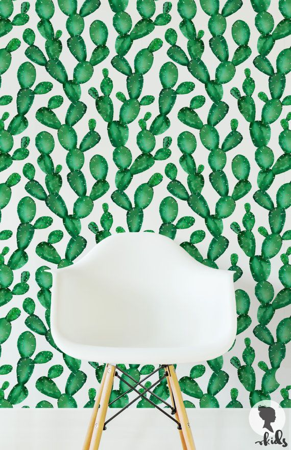 Self Adhesive Removable Wallpaper Cactus Wallpaper by LivettesKIDS