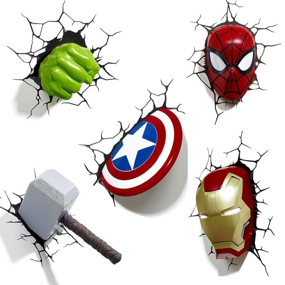 Marvel Avengers 3d Wall Light Hulk Iron Man Captain America Thor Spiderman Marvel Bedroom Marvel Lights Avengers Room
