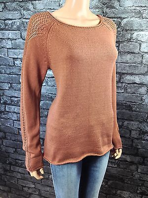 WOMANS FASHION LADIES BROWN KNITTED ROUND NECK JUMPER SWEATER SIZE 10 / 12  (d2) £12.99