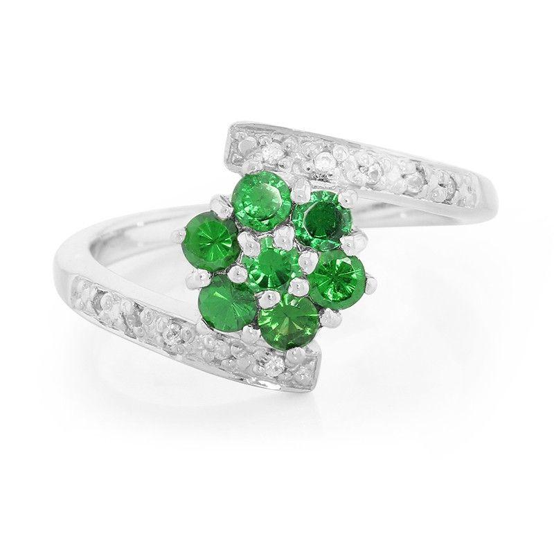 672ba74741ddf9 Petite Fleur - Bague pour femme sertie de Grenats Tsavorites AAA - Bijoux  en argent - Juwelo bijouterie en ligne