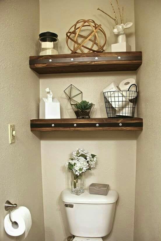 Estante en madera gruesa para baño | Decoración de medio ...