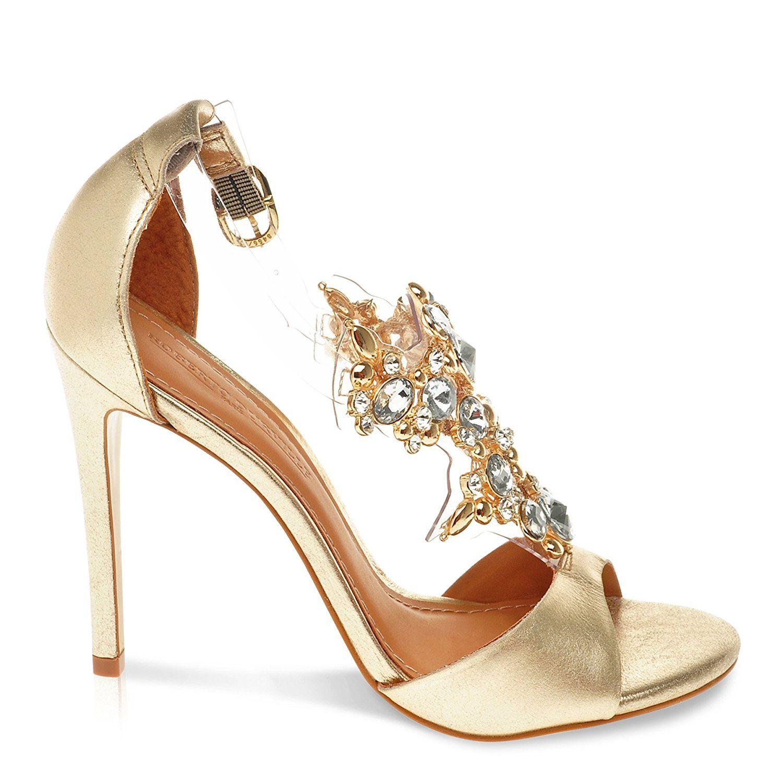 Roberto Durville Paris - Adalin -Women s Gold Leather High-Heel Sandals 36  M EU 264699d24