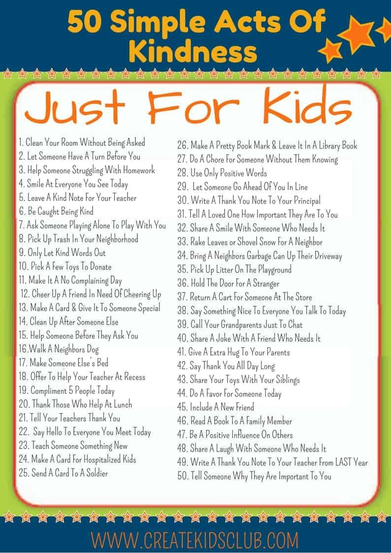 Random Acts of kindness for kids. 50 kind deed children can do on their  own. | Kindness for kids, Kindness challenge, Kindness activities