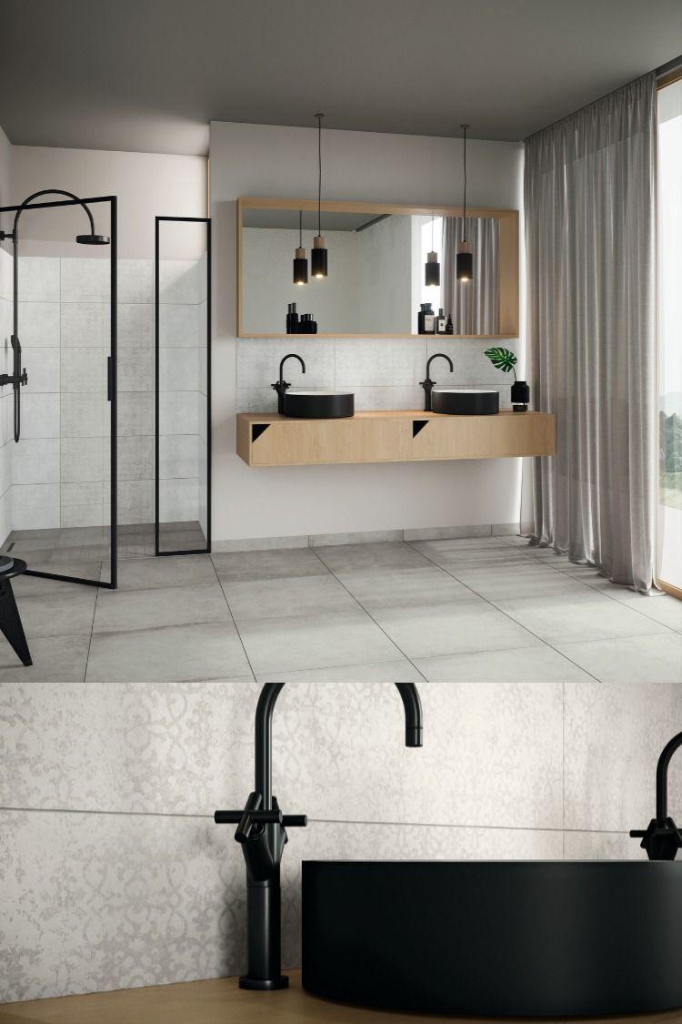 Bad Mit Klaren Formen L Schwarze Armaturen L Badezimmer Idee In 2020 Badezimmer Gestalten Badezimmer Bad Fliesen