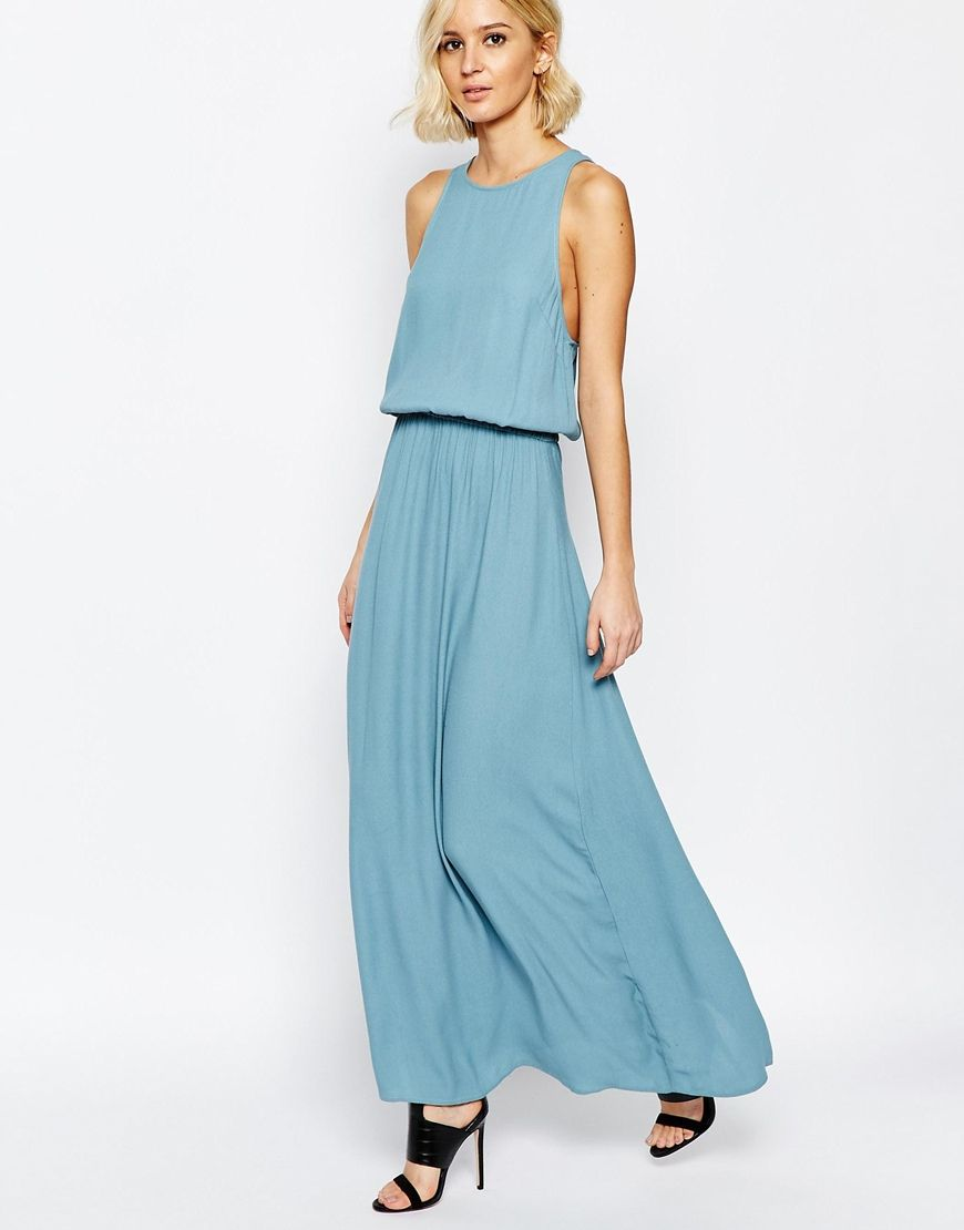 ASOS Just Female Rio Maxi Dress in Smoke Blue | Dress | Pinterest ...