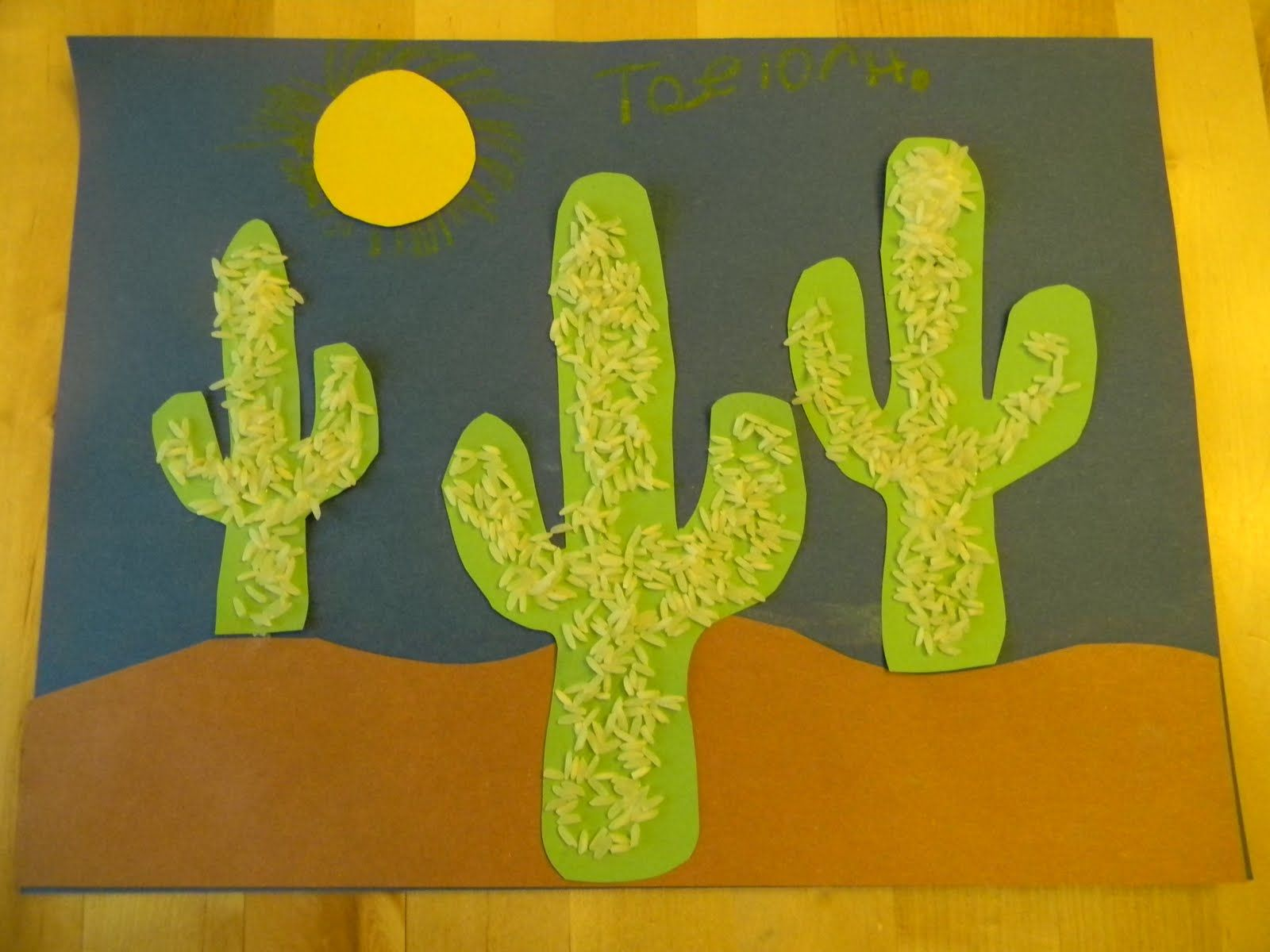Rice cactus art project. | The Wild West | Pinterest | Cacti, School ...