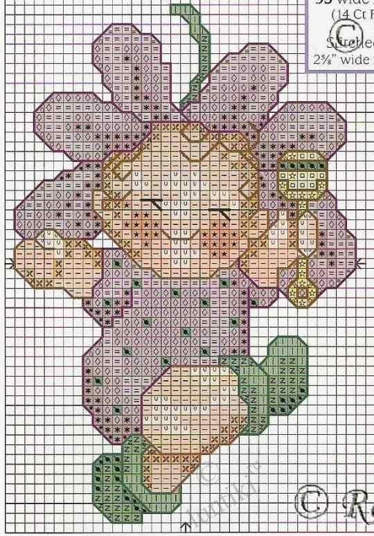 Цветочные детки (Flower babies) - простые картинки вышивки ...