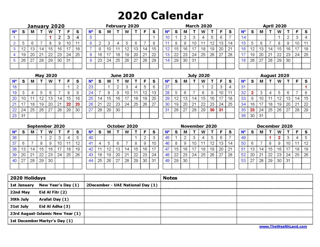 Yearly Planner 2020 With Public Holidays In United Arab Emirates Calendar Happy Islamic New Year Excel Calendar Template