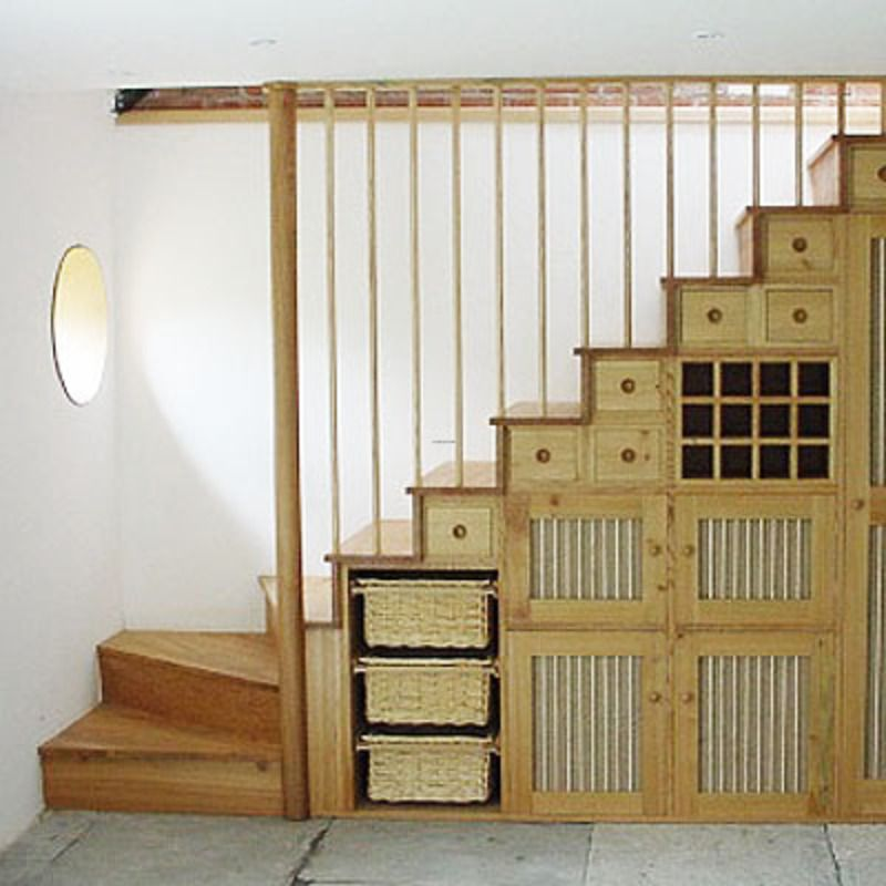 Creative Model On Under Stair Storage: Rustic Wood Under Stair Storage  Rattan Baskets Circular Mirror