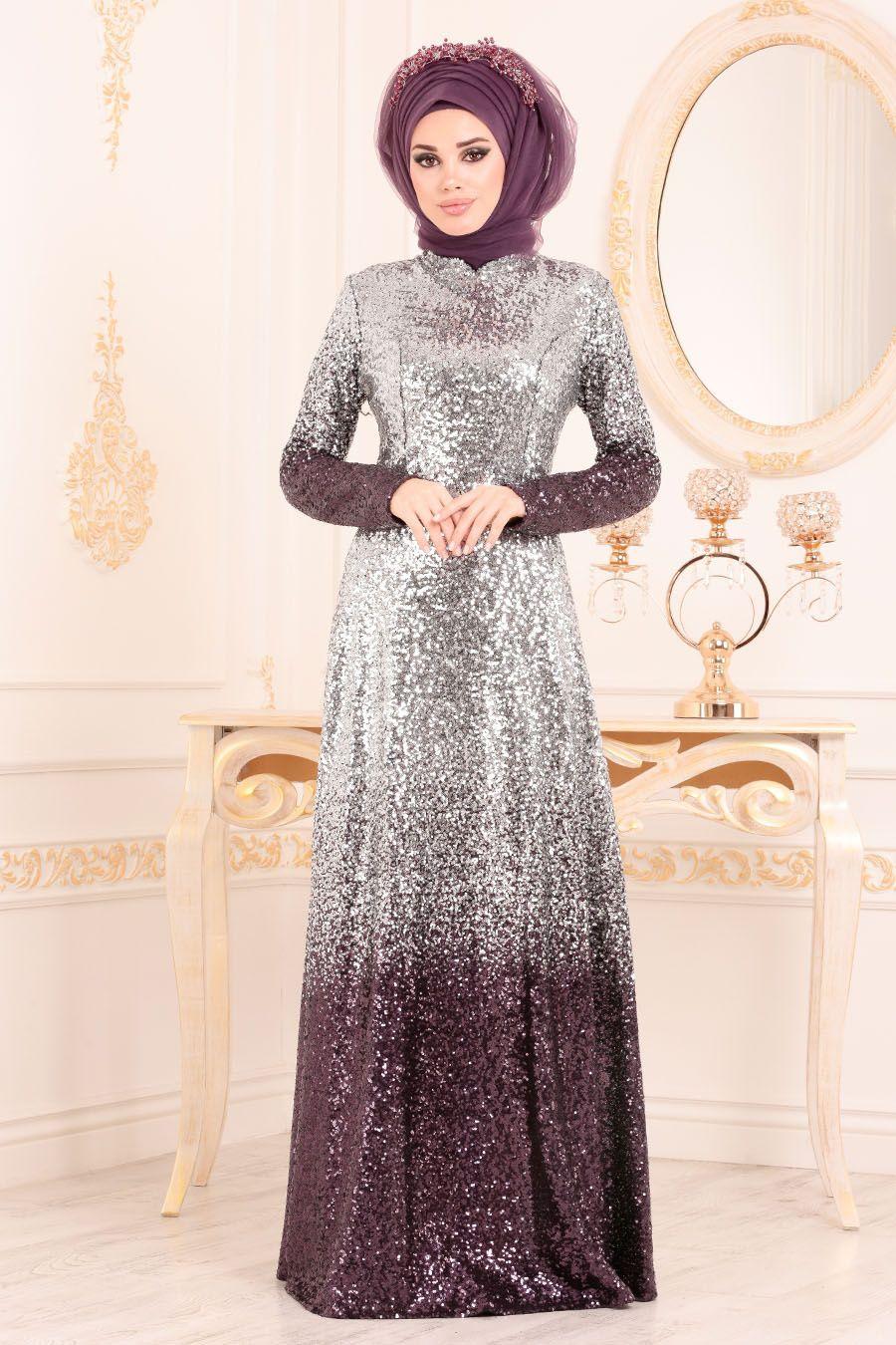 Tesetturlu Abiye Elbise Pul Payetli Murdum Tesettur Abiye Elbise 8576mu Elbise Elbiseler Abaya Tarzi