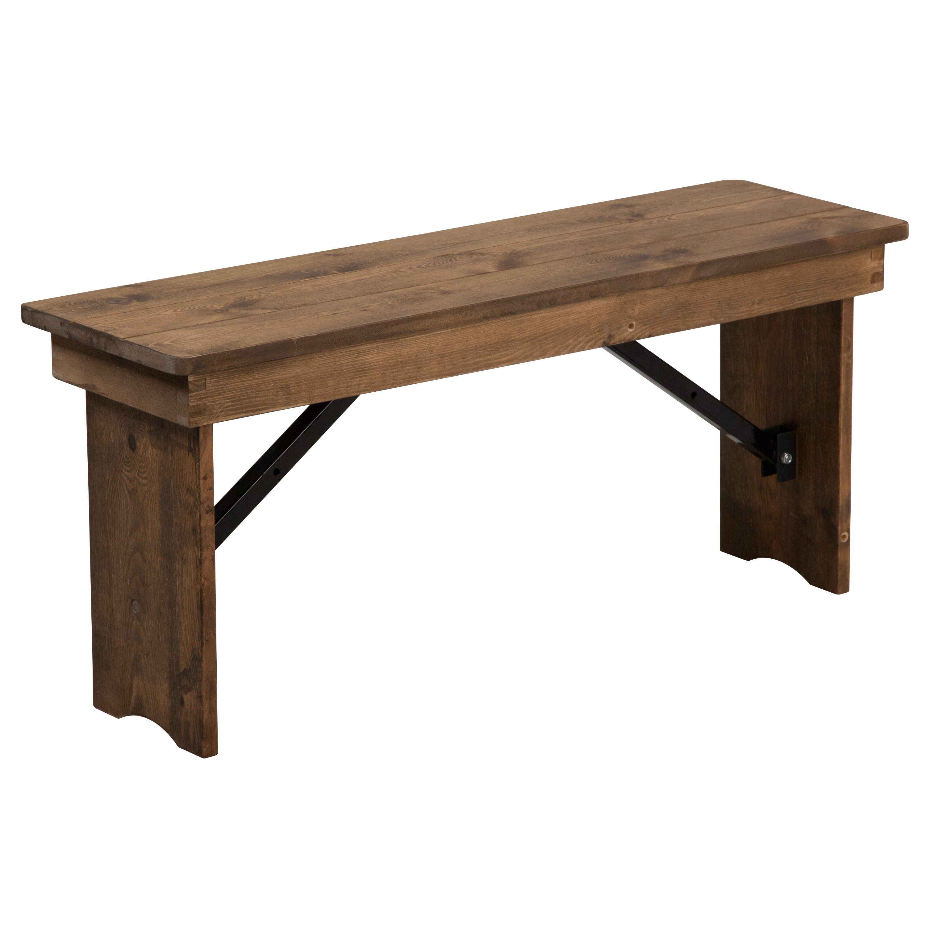 Hercules Series 40 X 12 Solid Pine Folding Farm Bench Farmhouse Table With Bench Folding Bench Flash Furniture