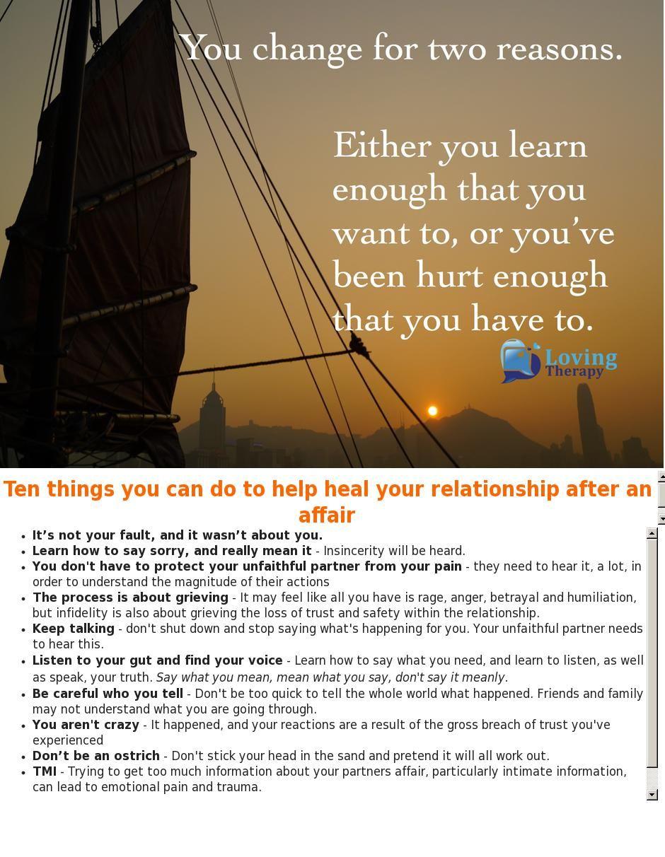 Letting Go Of An Affair Partner