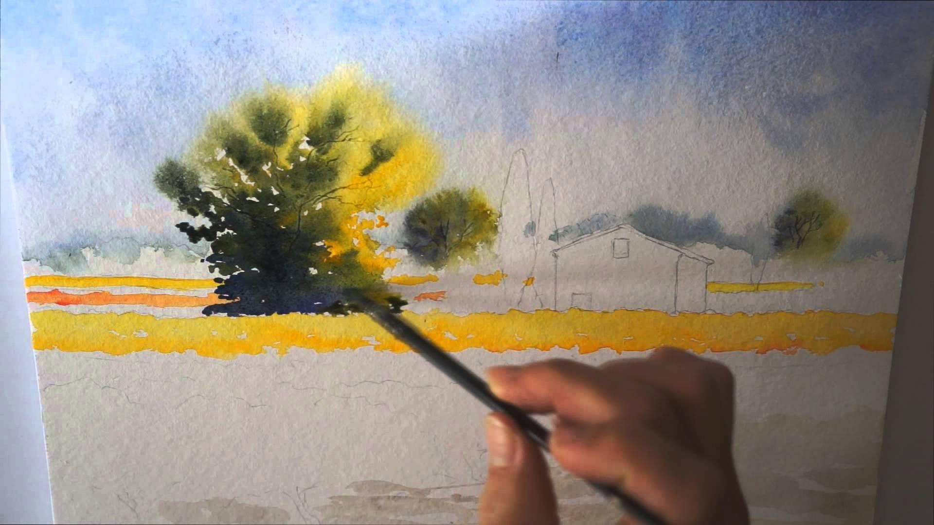 Aquarelle D Automne Watercolor Aquarelle Dessin Arbre Cours
