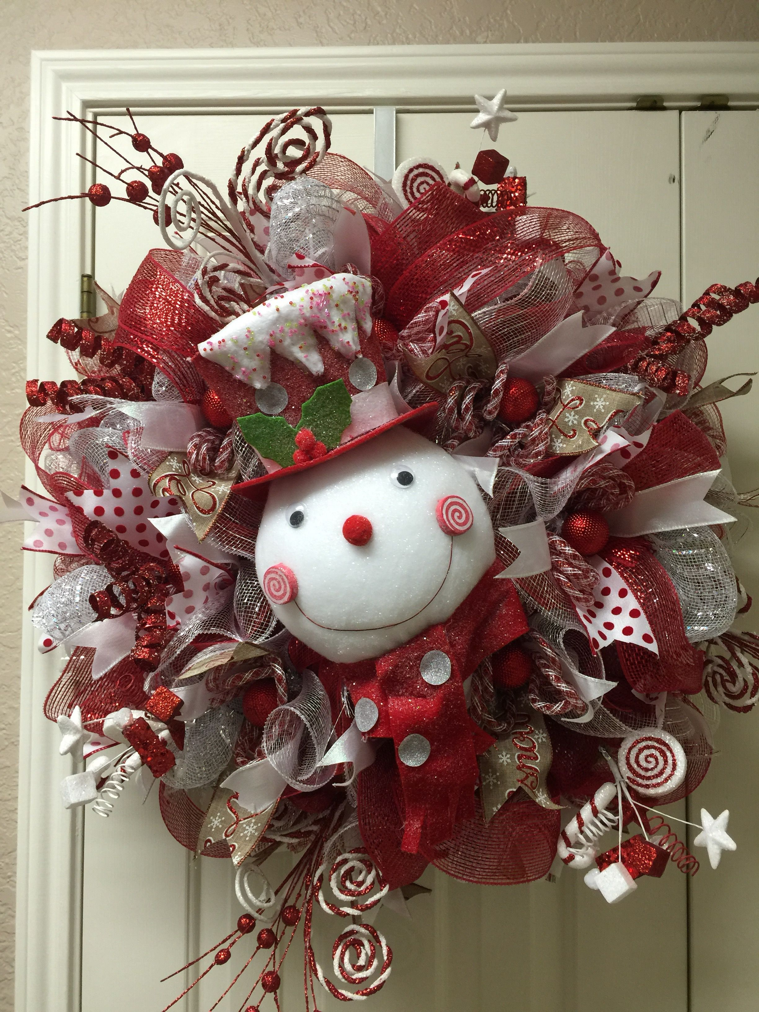 Red/White Snowman deco mesh wreath by Twentycoats Wreath