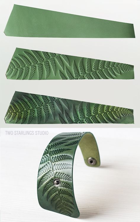 Photo of Green Leather Cuff Bracelet for Women with Snap Closure, Fern Botanical Ornaments, Nature Inspired, Embossed, Handpainted, Women's Bracelet