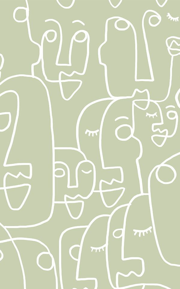 Papier Peint Profils de Visages Grands Sauge | Murals Wallpaper
