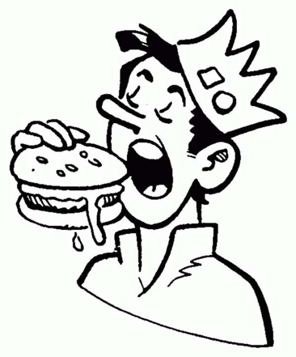 Jughead Eating Hamburger In Archie Comics Coloring Page Coloring