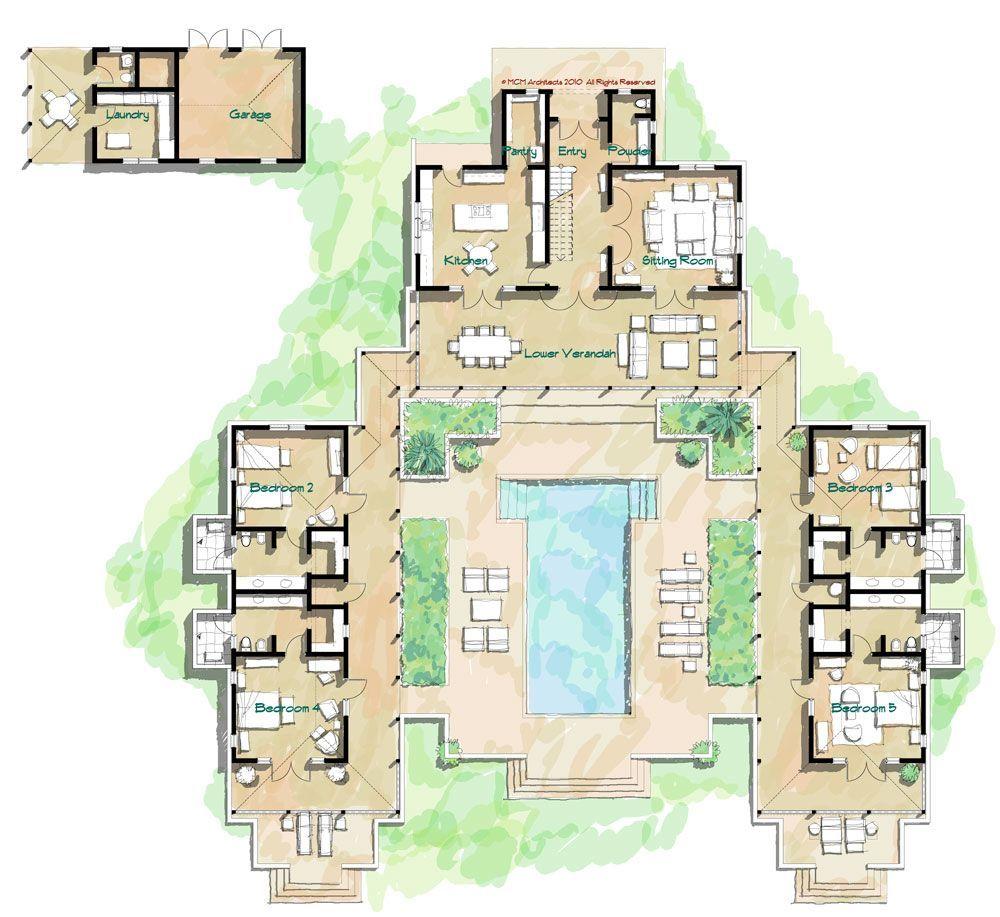 Downstairs Main Verandah Upstairs Owners Suite Verandah First Floor Plan Second Floor Courtyard House Plans Hacienda Style Homes Pool House Plans