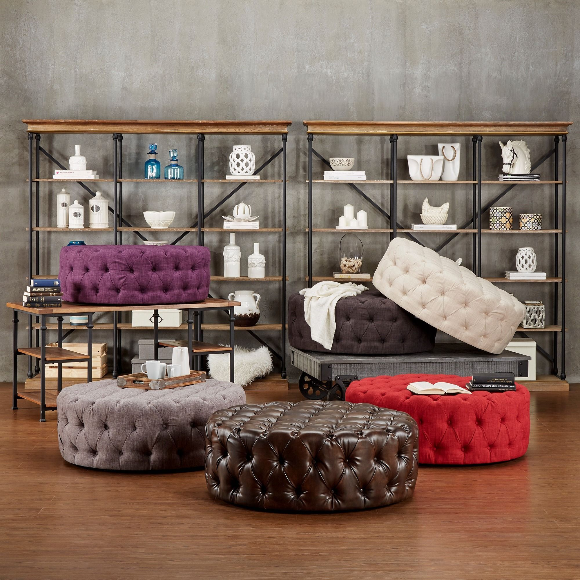 Knightsbridge Round Linen Tufted Cocktail Ottoman with Casters by ...