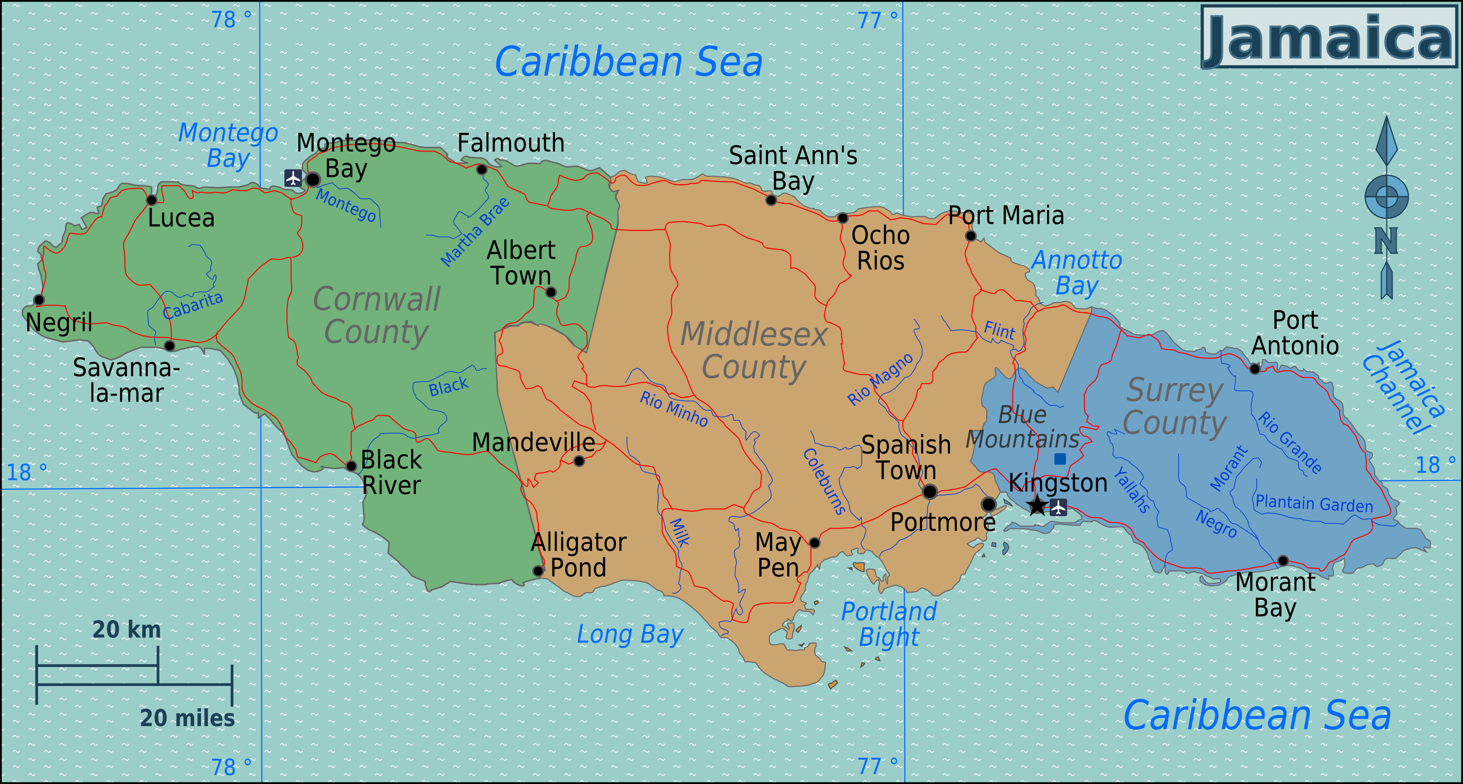 Jamaica Map | Jamaica | Pinterest | Negril, Montego bay and Negril ...