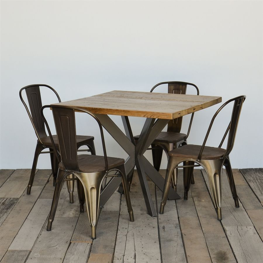 Contemporary dining table bases  Our uIntersectionsu square table highlights the beauty of reclaimed