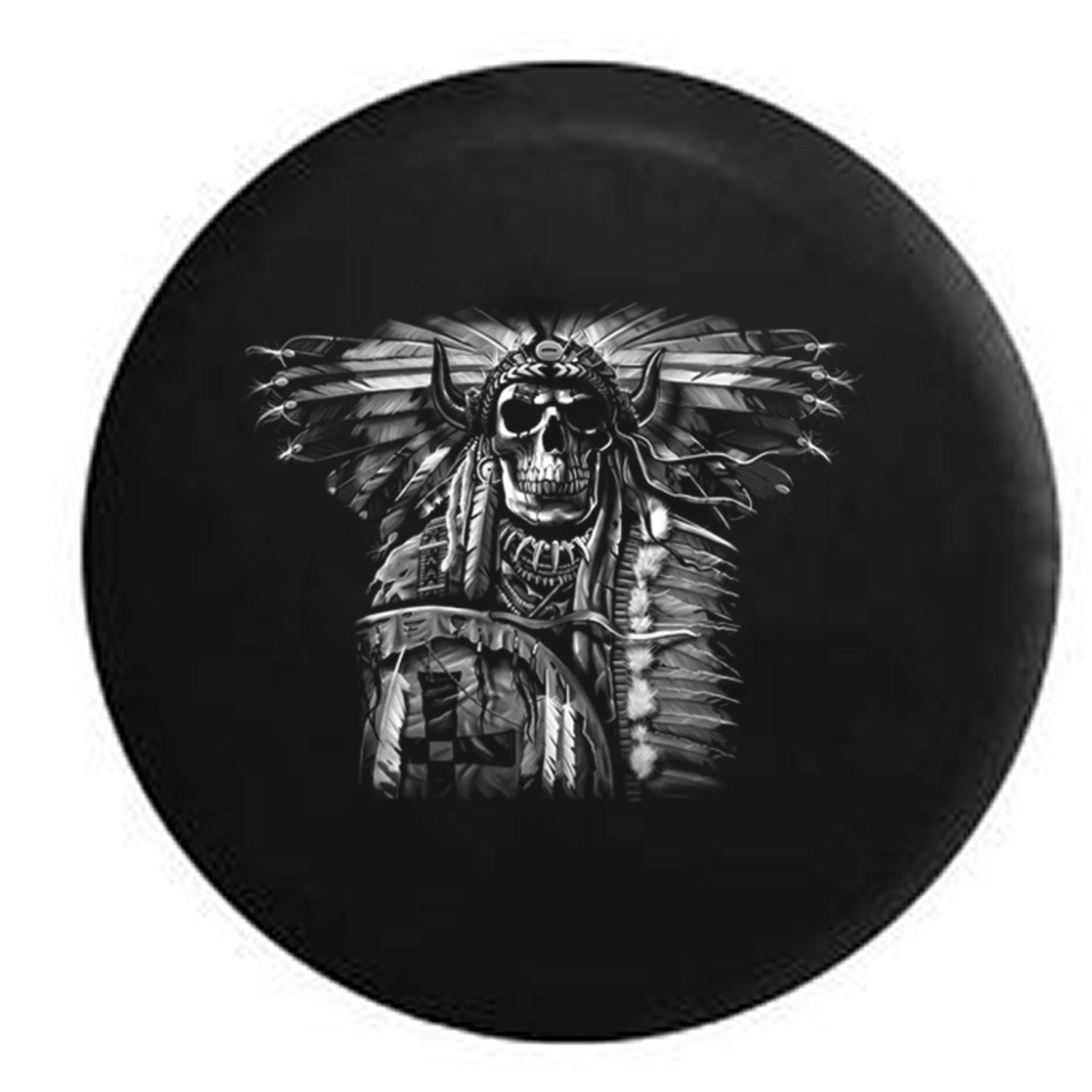 Spare Tire Cover Indian Skull With Dreamcatcher And Headress Etsy Tire Cover Jeep Tire Cover Custom Tire Covers