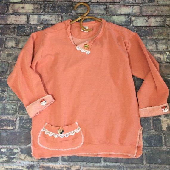 Size M Peach Sweatshirt Boho Style Longer Tunic Altered
