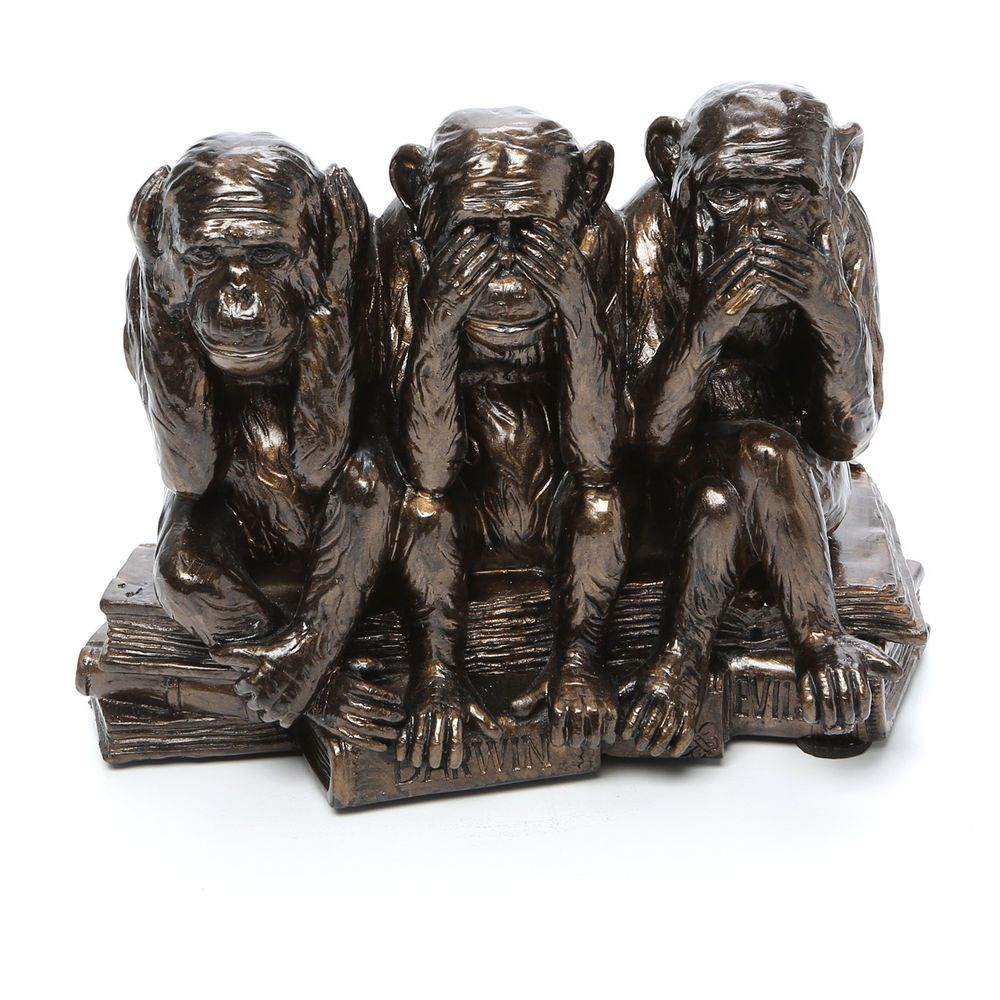 3 Monkeys Hear See Speak No Evil Three Table Statue Sculpture Faux Bronze Figure Traditional