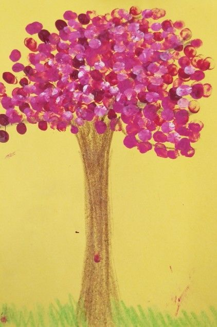 Cherry Blossom Tree Art Finger Painting For Kids Use Pencil Crayon For The Trunk And Different Shades Of Pink A Blossom Trees Tree Art Cherry Blossom Tree