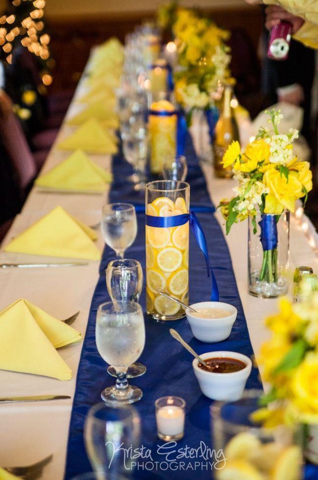 table de mariage jaune et bleu marine id e deco. Black Bedroom Furniture Sets. Home Design Ideas