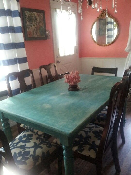 Wilson Street Kitchen Table With Navy Carlisle Chairs And Coral Accents Turquoisenavy Dining Room Possible Choice Colors