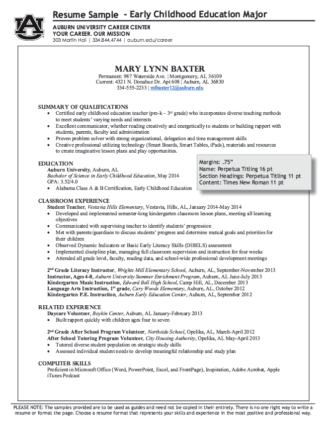 Example Of Early Chilhood Education Major Resume