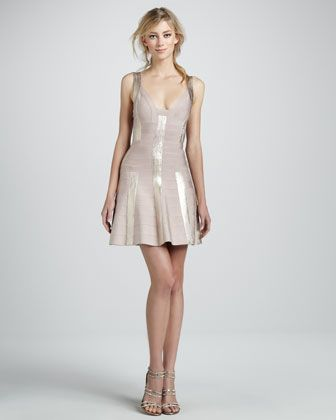 1d2d5fc426fc Metallic Fit-and-Flare Bandage Dress by Herve Leger at Neiman Marcus. not  exactly realistic for autumn ball