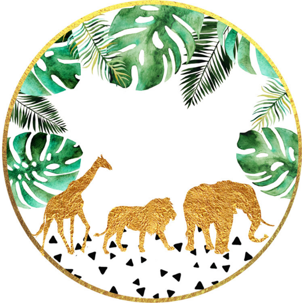 Jungle Baby Shower Stickers Gold Decorations Zazzle Com In 2020 Jungle Baby Shower Stickers Gold Safari Baby Shower Safari Baby Shower Boy