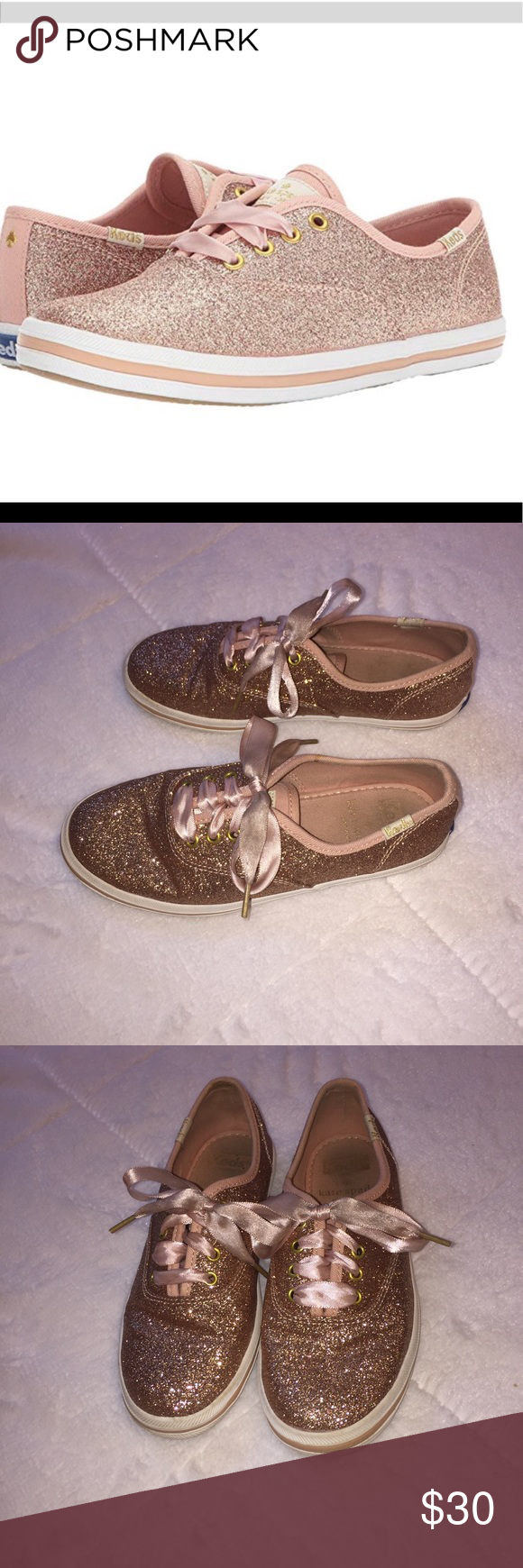 51bcdd8b4829 Keds x Kate Spade Rose Gold Glitter Sneakers 13.5 Kids Kate Spade Keds.  Pink rose gold color. Sparkles and glitter and pink laces. Very good used  condition ...