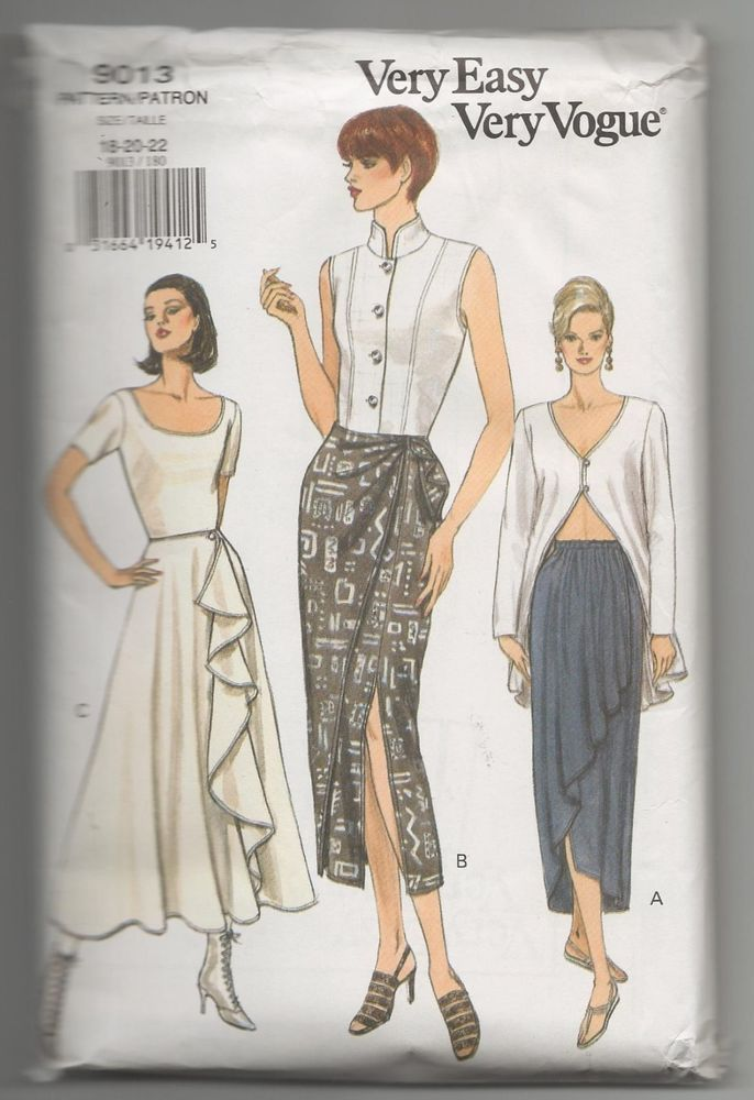 NEW VOGUE 9013 VERY EASY VERY VOGUE MISSES SKIRT SEWING PATTERN SZ ...