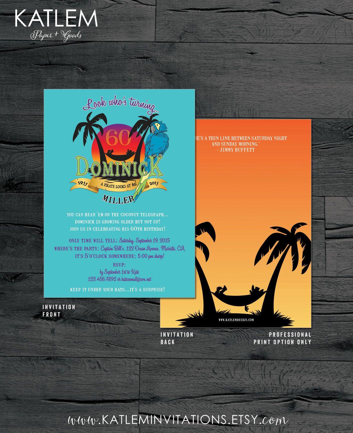 Poster design fee - Birthday Party Invitation Margaritaville Jimmy Buffet Inspired Design Fee By Katleminvitations On Etsy