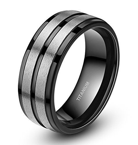 Two Tone Black Stripe Grooved Brushed Titanium Rings For Men Engagement Band 8mm Http Www Amazon Com Titanium Rings For Men Rings For Men Mens Wedding Rings